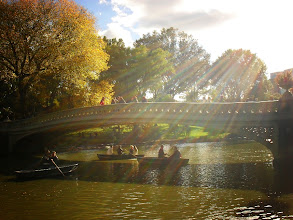 Photo: Sunlight streaming over Bow Bridge.   Central Park, New York City.  View the writing that accompanies this post here at this link on Google Plus:  https://plus.google.com/108527329601014444443/posts/AHRvNjMsohb  View more New York City photography by Vivienne Gucwa here:  http://nythroughthelens.com/
