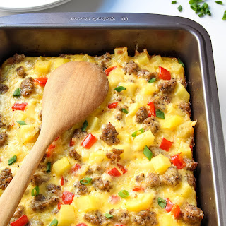 Breakfast Casserole with Eggs, Potatoes and Sausage.