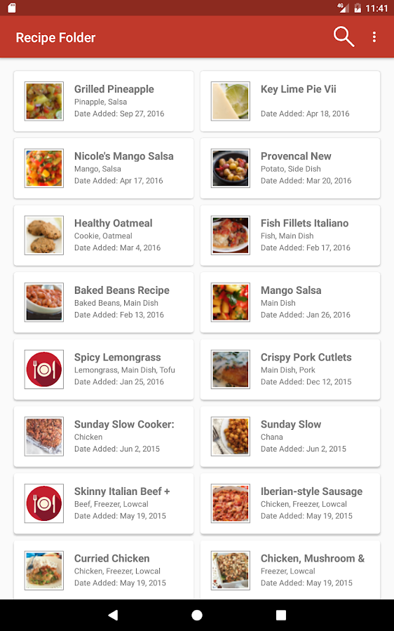 Recipe Folder- screenshot