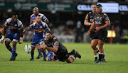 Thomas du Toit of the Cell C Sharks with a dive pass during the Super Rugby match between Cell C Sharks and DHL Stormers at Jonsson Kings Park on April 21, 2018 in Durban, South Africa.