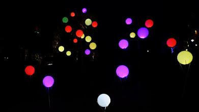 Photo: Leuchtkugeln; Lichtinstallation Wolfgang Flammersfeld und Reinhard Hartleif