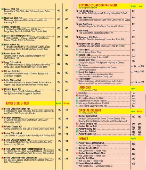Shokeen Rolls menu 2
