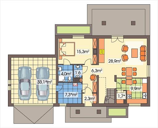 Słoneczko 2 wersja C z podwójnym garażem - Rzut parteru