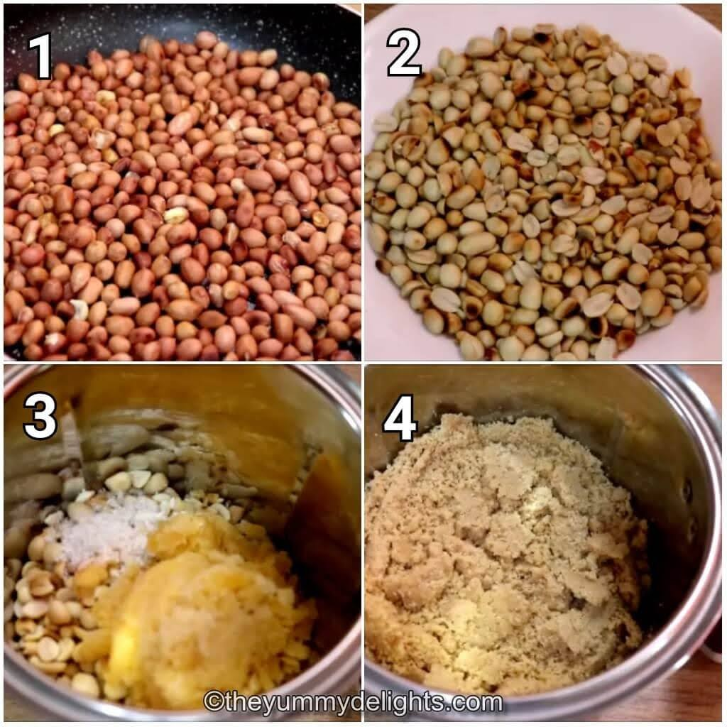 step by step image collage of roasting the peanuts and addition of jaggery to make peanut ladoo recipe.