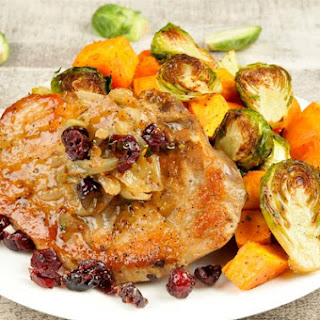 Pork Chop and Cranberry Mostarda With Roasted Sweet Potatoes & Brussels Sprouts
