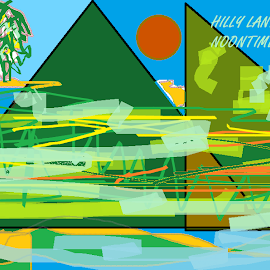 HILLS WITH HABITAT: A DRAWING by Jayita Mallik - Typography Captioned Photos ( noon, hills, landscape, colors, nature art )