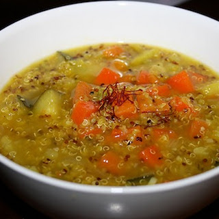 Saffron Sweet Potato & Rainbow Quinoa Soup