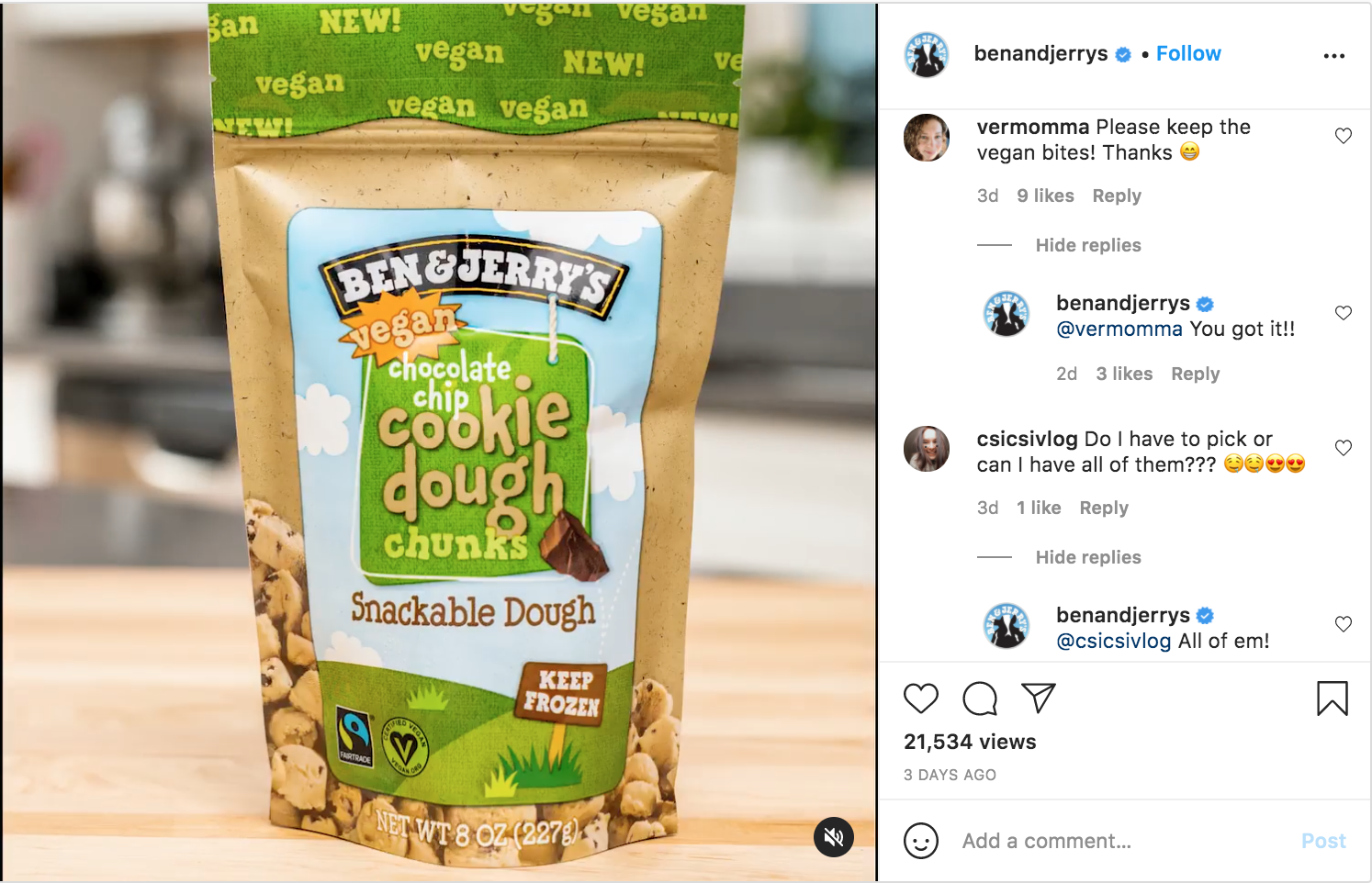 Ben and Jerrys on IG