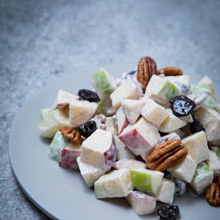 Creamy Apple Salad With Pecans and Dried Cherries.