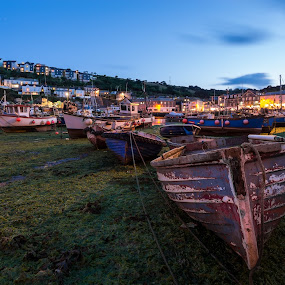 Mevagissey harbour at low tide by Wim De Koster - City,  Street & Park  Night