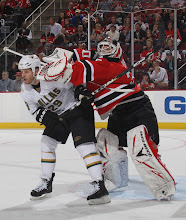 Photo: NEWARK, NJ - OCTOBER 08: Steve Ott #29 of the Dallas Stars is hit by Martin Brodeur #30 of the New Jersey Devils at the Prudential Center on October 8, 2010 in Newark, New Jersey. The Stars defeated the Devils 4-3. (Photo by Bruce Bennett/Getty Images) *** Local Caption *** Steve Ott;Martin Brodeur