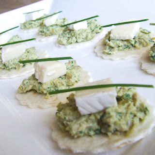 Brie and Green Olive Canapes.