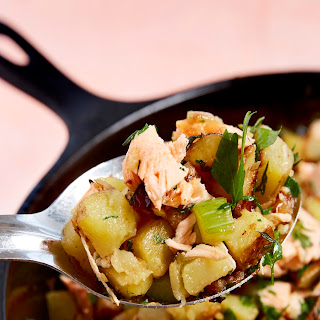 Salmon Hash with Yukon Gold Potatoes and Herbs.