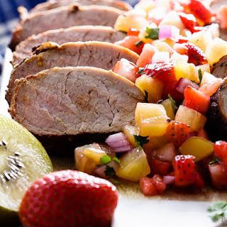 Grilled Pork Tenderloin with Strawberry Kiwi Salsa.