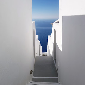 Stairway to Blue by Cristi Mihăilescu - Buildings & Architecture Architectural Detail ( sky, blue, stairs, sea, parallels )