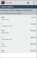Screenshot of London Bus Live Countdown