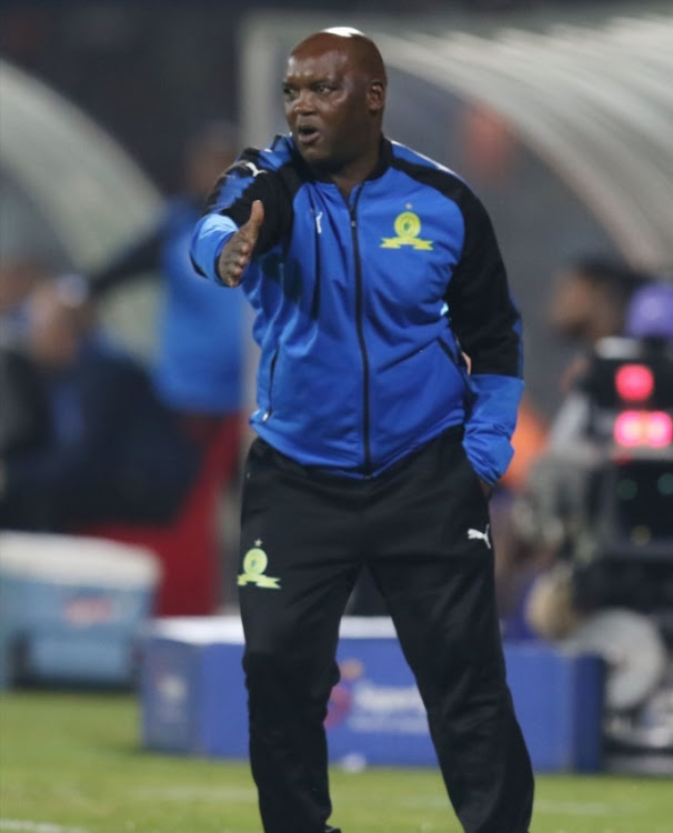 Pitso Mosimane of Mamelodi Sundowns during the Absa Premiership match between Maritzburg United and Mamelodi Sundowns at Harry Gwala Stadium on April 25, 2018 in Durban, South Africa.