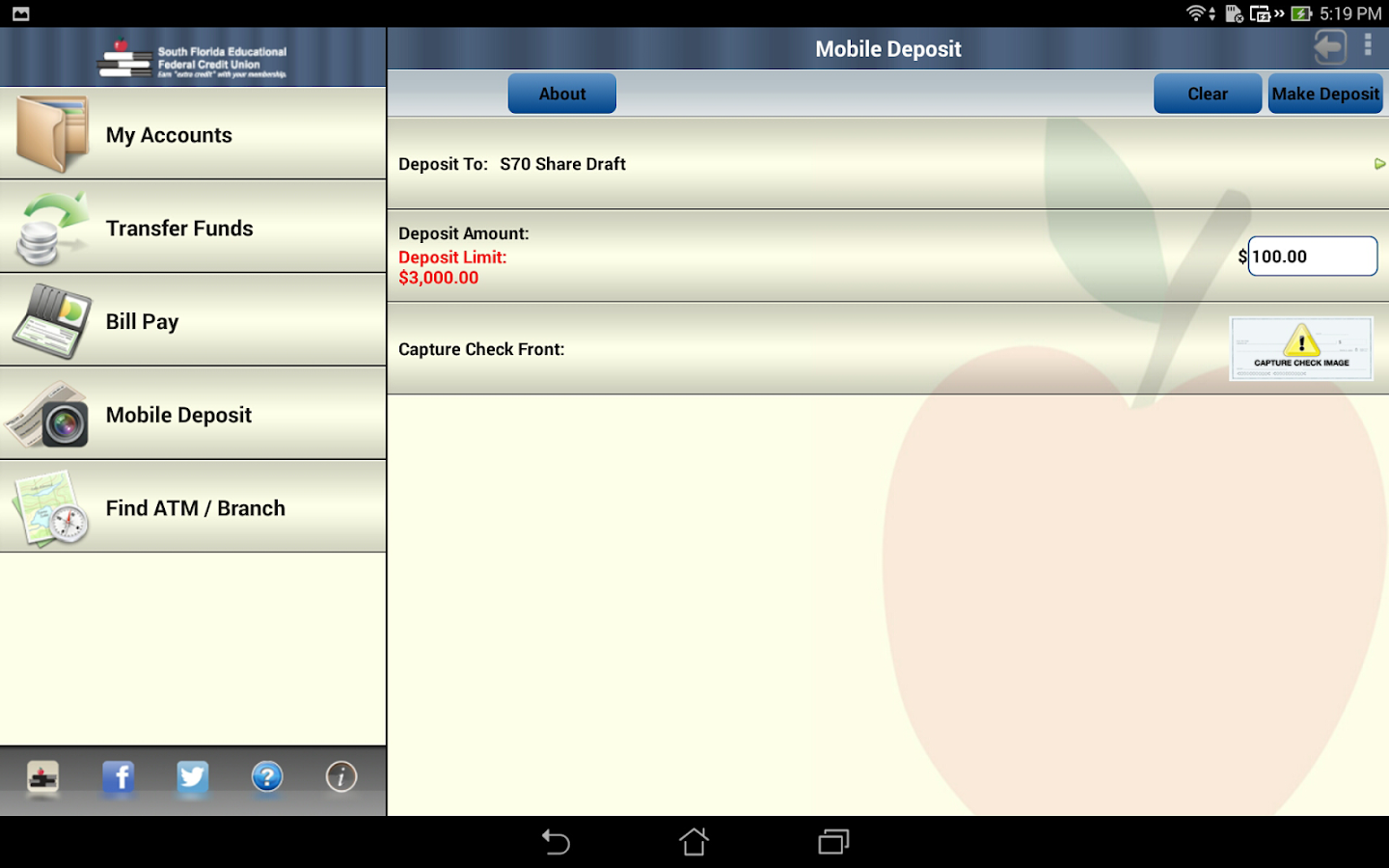 SFEFCU Android Tablet- screenshot
