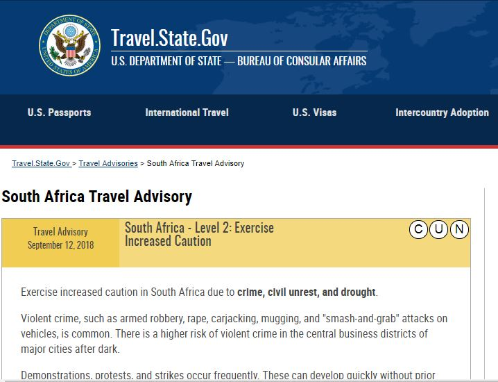 The travel advisory on the US Travel State Gov website.