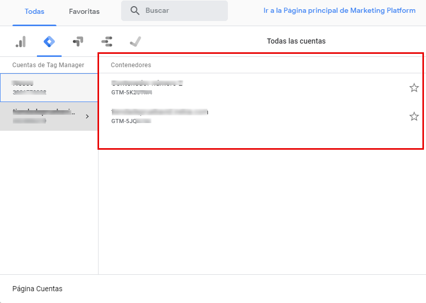 contenedores en google tag manager