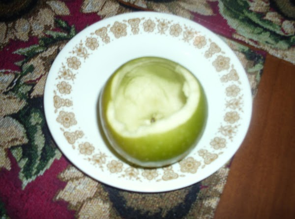 I used granny smith apples.  Take a knife and slice off the top...