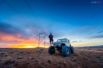 Photo: You could curse the powerlines or use them!  The Jeep video from this weekend should turn out OK eh?  This was just an hour ago for sunset.