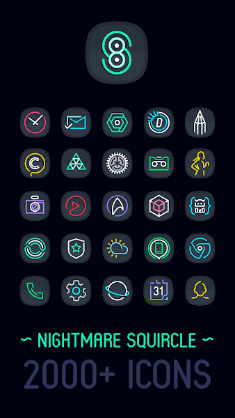 Nightmare Squircle – Dark S8 Icon Pack v2.0.9.i.a