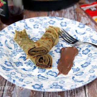 Matcha Tea Pancakes With Chocolate Sauce.
