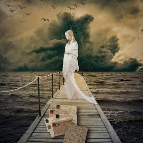 White Girl... by Ilkgul Caylak - Digital Art Things ( sky, dramatic sky, amazing, awesome, beautiful, woman, cool, dramatic, clouds, girl, nice )