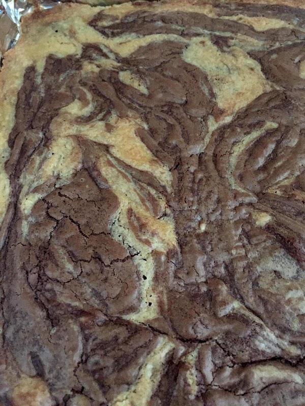 Place spoonfuls of chocolate mixture randomly across top of batter in pan.  Run...