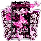 Pink Black Butterfly Theme icon