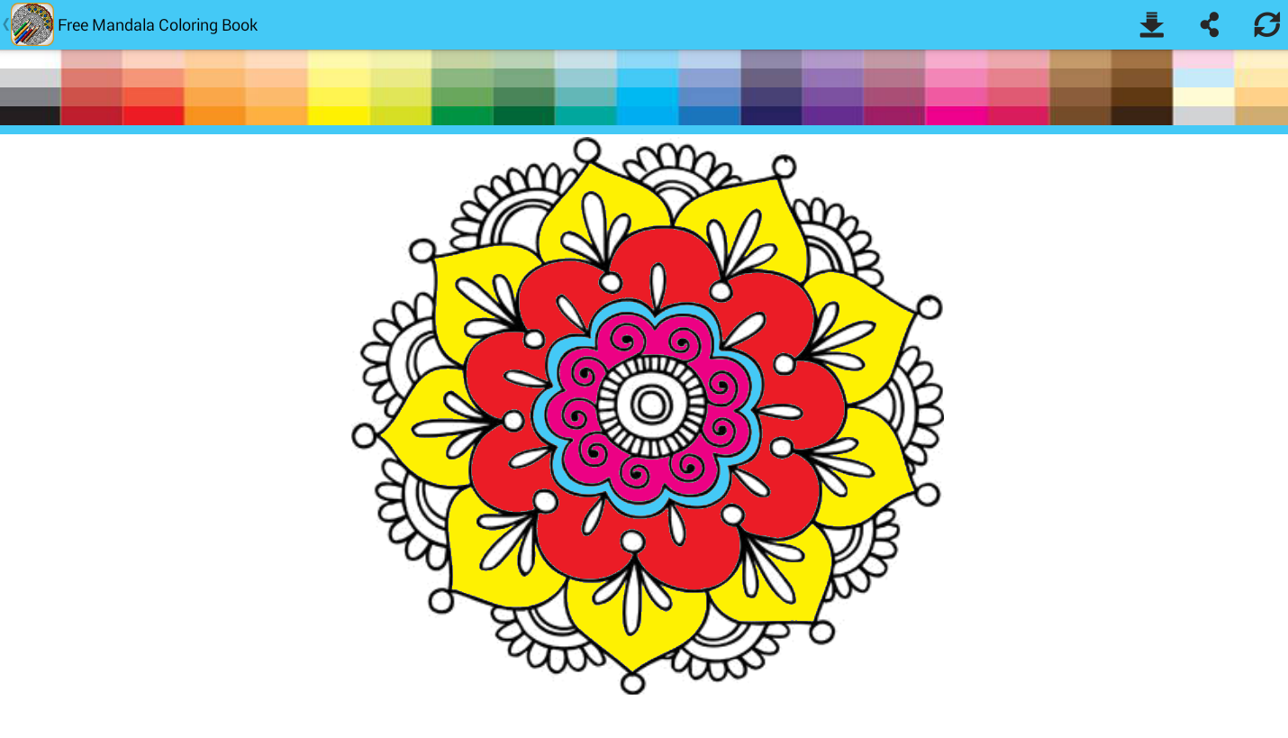 Color therapy anti stress coloring book app - Free Mandala Coloring Book Screenshot