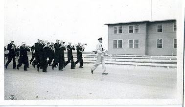 Photo: Chase Band marching in front of the Admin Bldg. 1944 Photo Courtesy Don Kochi
