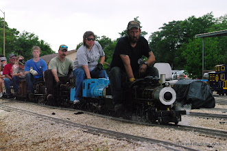Photo: Ken Rhodes, Kari Wirth, Roy Tomlin, and Nick Hitzfelder.  Three coal burners plus one propane burner.  All four locos with different wheel arrangements.  HALS-SLWS 2009-0523