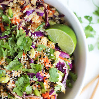 Vegan Asian Quinoa Salad with Sesame Miso Dressing