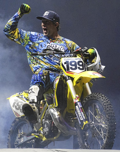 Stuntman and Nitro Circus founder Travis Pastrana thrills  the crowds in Hamburg with his high-flying motorcycle tricks.