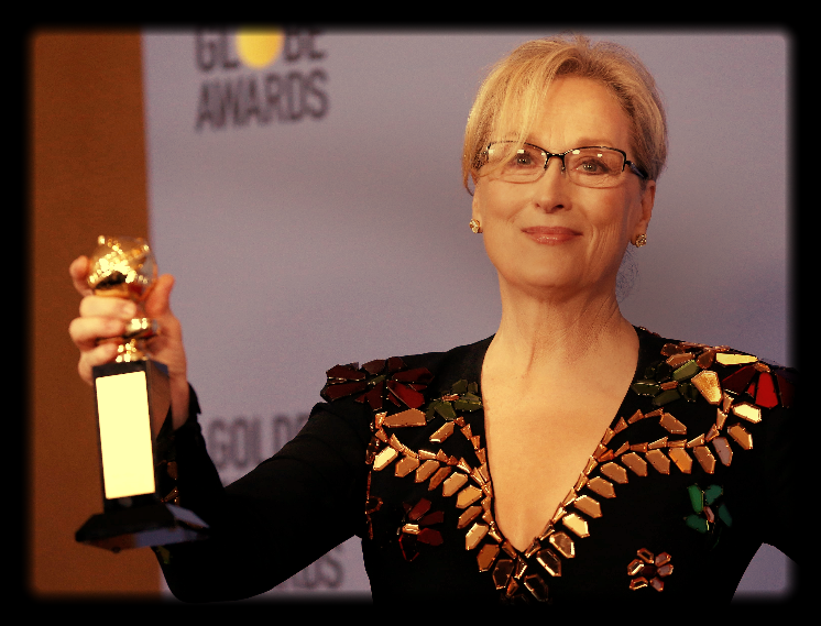 Meryl Streep holds the Cecil B. DeMille Award during the 74th Annual Golden Globe Awards. Picture: REUTERS, MARIO ANZUONI