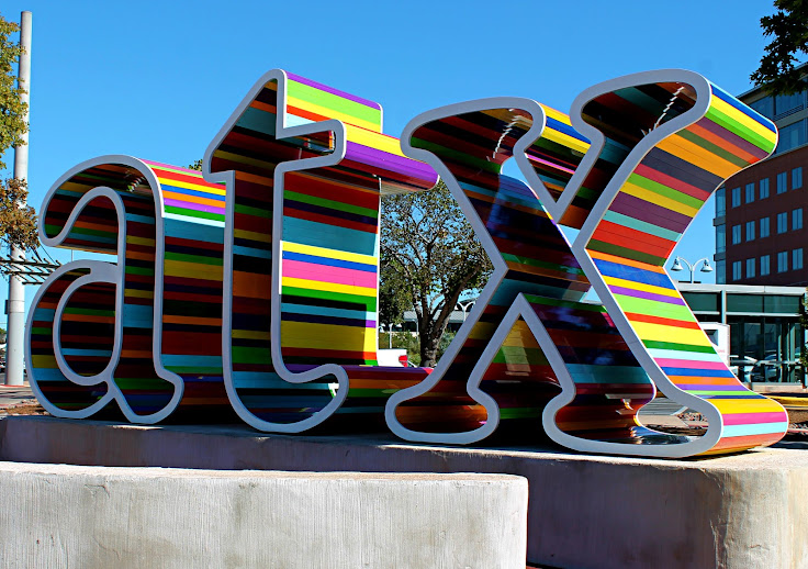 "The ""atx"" sign in front of Whole Foods."