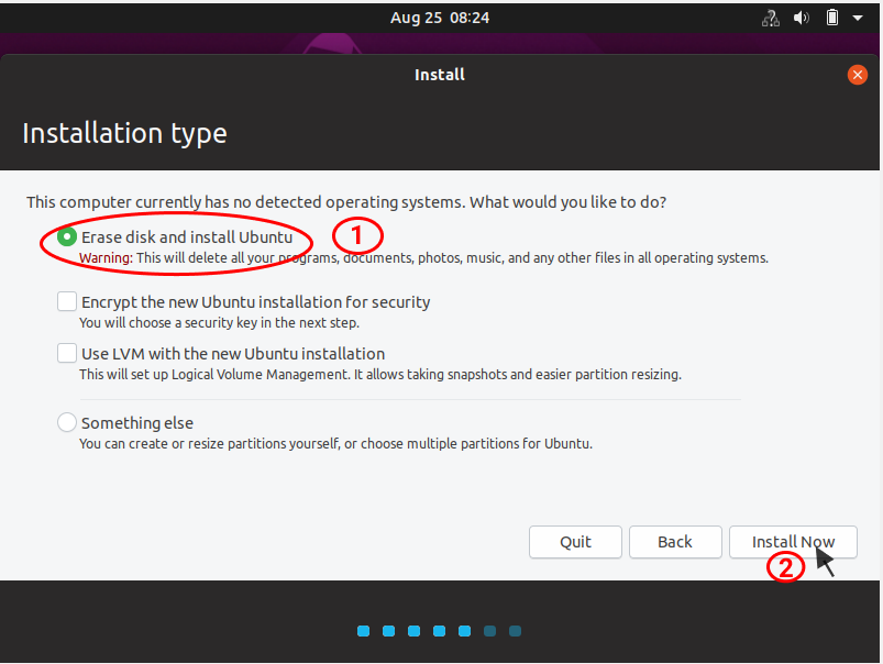 installation type configuration for ubuntu linux installation