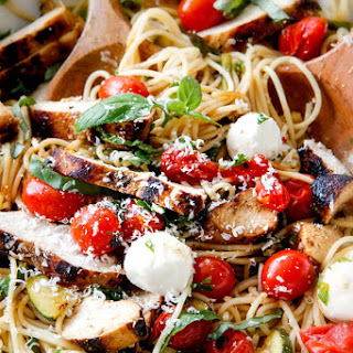 Caprese Chicken Pasta with Roasted Vegetables