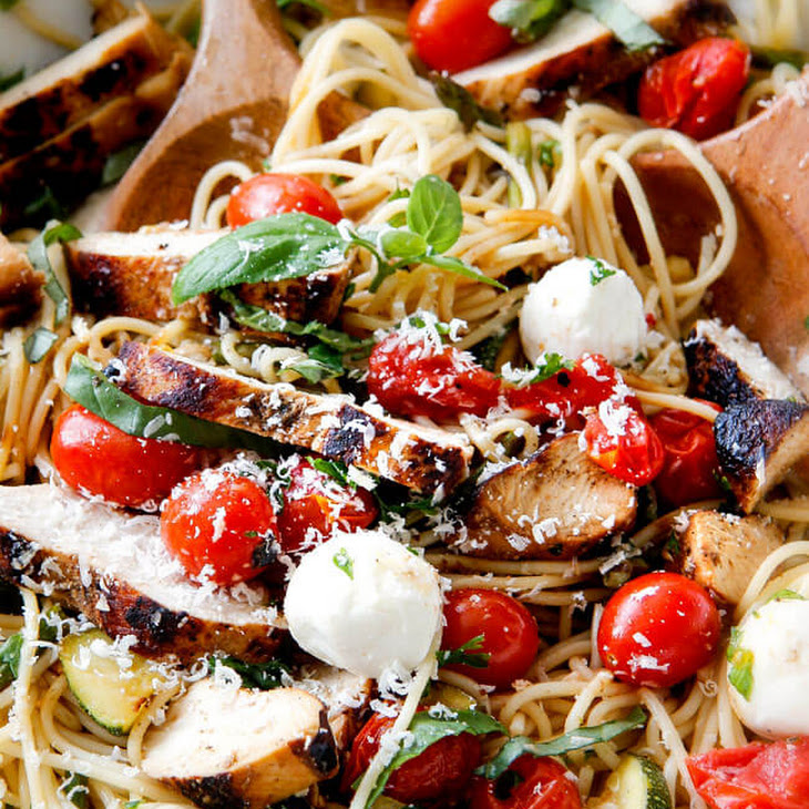 Caprese Chicken Pasta with Roasted Vegetables Recipe