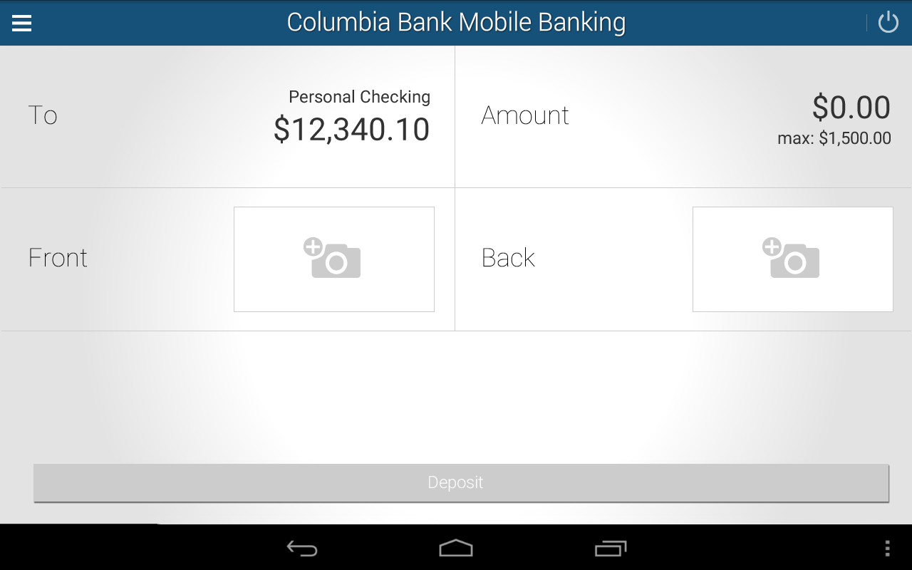 Columbia Bank Mobile Banking- screenshot