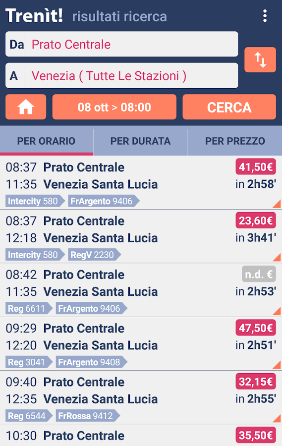Trains schedules in Italy- screenshot