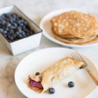 Low Carb Crepes with Blueberry Cream Cheese Filling.