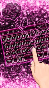 Sparkling Pink Neon Roses Keyboard 10001007 Download Mod Apk 1