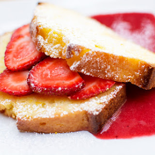 Orange Pound Cake with Strawberry Coulis