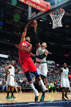 Photo: ATLANTA, GA - JANUARY 5:  Jared Sullinger #7 of the Boston Celtics blocks a shot against Al Horford #15 of the Atlanta Hawks on January 5, 2013 at Philips Arena in Atlanta, Georgia.  NOTE TO USER: User expressly acknowledges and agrees that, by downloading and/or using this Photograph, user is consenting to the terms and conditions of the Getty Images License Agreement. Mandatory Copyright Notice: Copyright 2013 NBAE (Photo by Scott Cunningham/NBAE via Getty Images)