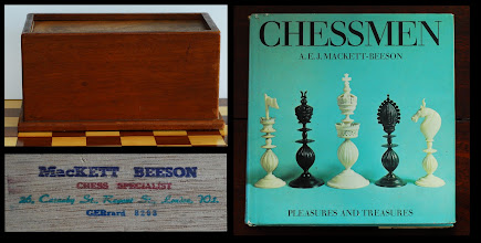 Photo: CH400 - the box the set came in: mahogany with a stained plywood lid that has the MacKett Beeson stamp as shown on its inside.  AEJ MacKett Beeson was a well-known London chess dealer. He wrote the book 'Chessmen' as shown, published in 1968  - I bought a copy in the early 1970's, long before I became involved in chess collecting, and was amazed at the different styles 'available'. With the benefit of hindsight, and the increased research opportunities afforded by the internet, we now know that many of MB's descriptions and comments on sets were not correct, however (this state of affairs is quite common with these early chess books).