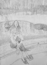 Photo: Versailes, au bassin du Trianon - dessin préparatoire fait sur la toile à peindre (mine de plomb 150*100)