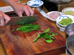 Photo: preparing kaffir lime leaves for the crab cakes
